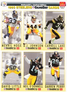 1993 McDonald's GameDay Steelers sheet 2 front