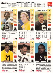 1993 McDonald's GameDay Steelers sheet 3 back