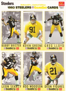 1993 McDonald's GameDay Steelers sheet 3 front