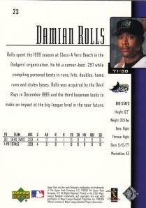 2001 Upper Deck Damian Rolls back