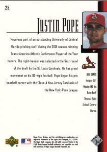 2001 Upper Deck Prospect Premieres Justin Pope back