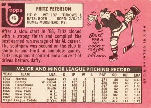 1969 Topps Fritz Peterson Back