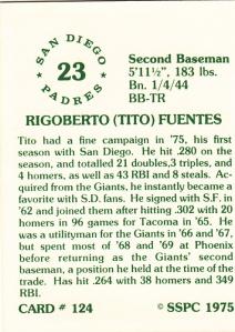 1976 SSPC #124 Tito Fuentes back