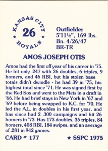 1976 SSPC #177 Amos Otis back