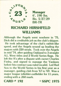 1976 SSPC #192 Dick Williams back