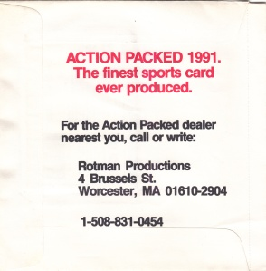 1991 Action Packed football promo back