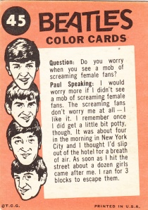 1964 Topps Beatles Color #45 back