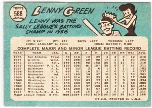 1965 Topps Lenny Green Back