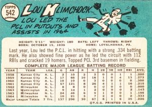 1965 Topps Lou Klimchock back