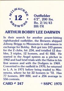 1976 SSPC #247 Bobby Darwin back