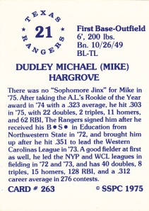 1976 SSPC #263 Mike Hargrove back