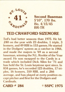1976 SSPC #284 Ted Sizemore back