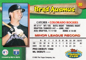 1993 Stadium Club Team Rockies Brad Ausmus back