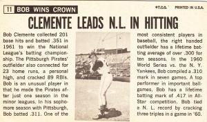 1964 Topps Giants Bob Clemente back