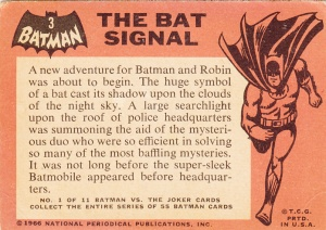 1966 Batman - Black Bat - Bat Signal back
