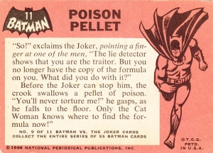 1966 Batman - Black Bat - Poison Pellet back