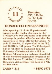 1976 SSPC #315 Don Kessinger back