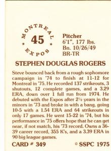 1976 SSPC #349 Steve Rogers back
