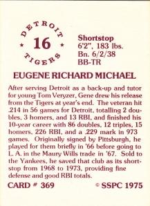 1976 SSPC #369 Gene Michael back