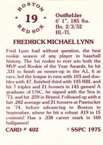1976 SSPC #402 Fred Lynn back
