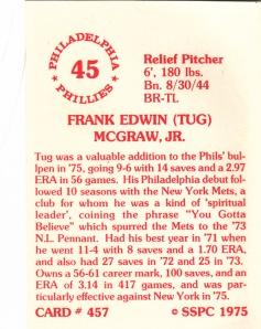1976 SSPC #457 Tug McGraw back