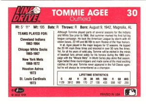 1991 Line Drive Tommie Agee back
