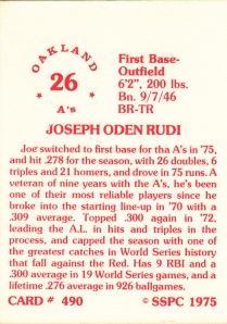 1976 SSPC #490 Joe Rudi back