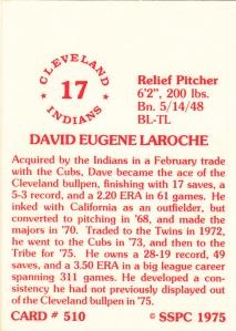 1976 SSPC #510 Dave LaRoche back