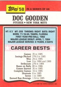 1990 Topps TV Doc Gooden back