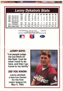 1991 Line Drive Collect-A-Books Lenny Dykstra_0003