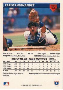 1993 Donruss Carlos Hernadez back