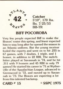 1976 SSPC #15 Biff Pocoroba back