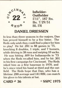 1976 SSPC #36 Dan Driessen back