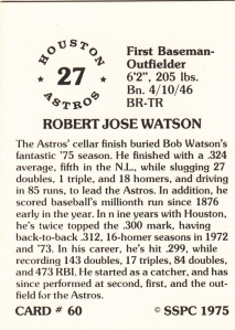 1976 SSPC #60 Bob Watson back