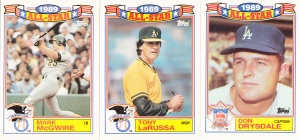 1990 Topps All-Star Glossy McGwire LaRussa Drysdale
