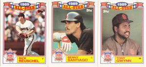 1990 Topps All-Star Glossy Reuschel Santiago Gwynn
