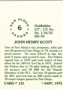 1976 SSPC #131 John Scott back