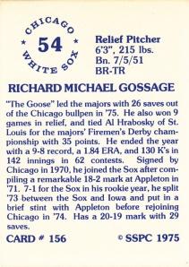 1976 SSPC #156 Rich Gossage back