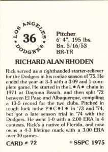 1976 SSPC #72 Rick Rhoden back