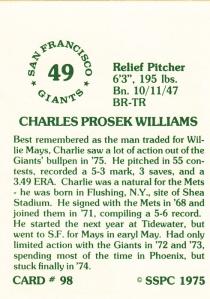 1976 SSPC #98 Charlie Williams back