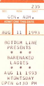 1993 Barenaked Ladies Bottom Line ticket