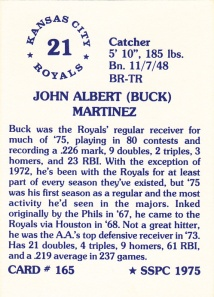 1976 SSPC #165 Buck Martinez back