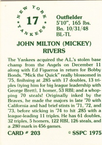 1976 SSPC #203 Mickey Rivers back