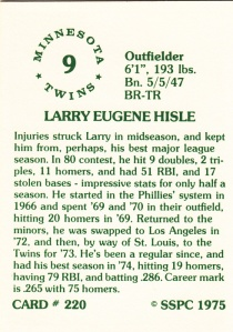 1976 SSPC #220 Larry Hisle back