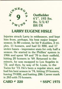 1976 SSPC #220 Larry Hisle back