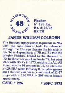 1976 SSPC #226 Jim Colborn back