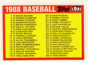 1988 Topps Leaders Minis Checklist