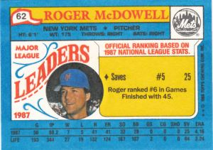 1988 Topps Leaders Minis McDowell back