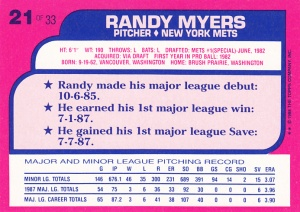 1988 Toys R Us Randy Myers back