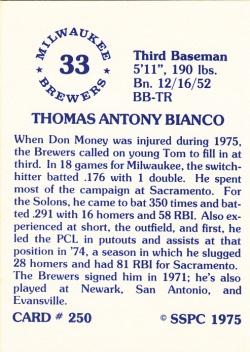 1976 SSPC #250 Tommy Bianco back
